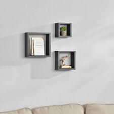 [en.casa] 3er Set Wandregal Hängeregal Bücherregal CD DVD Regal Cube Lounge Grau