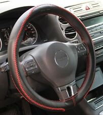 Black + Red Thread PVC Leather DIY Steering Wheel Cover Stitch Wrap Set 43009