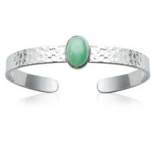 Bracelet Bangle Open Stone Real Aventurine Green Solid Silver 925/1000