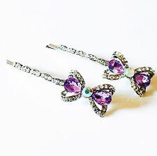 USA Bobby Pin Rhinestone Crystal Hair Clip Hairpin Cute Bowknot Blue Purple 06