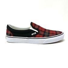 Vans Classic Slip On Tartan Pack Plaid Red Black Men's 11.5 Skate Shoes New