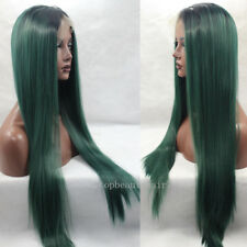 1B/ Green Ombre Color Lace Front Wig Synthetic Hair Long Silky Straight