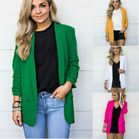 Work Long Blazer Office Solid Formal Size Color Sleeve Ladies Women Jacket Plus