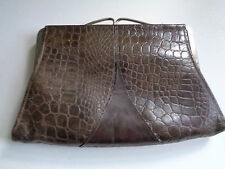 Vintage 1950s Crocodile Skin Leather Vintage Clutch Bag party prom