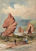 FIGURES ON DAWLISH DEVON COASTLINE Victorian Watercolour Painting 19TH CENTURY