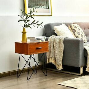 Small Industrial Side Table Vintage Style Bedside Nightstand Cabinet Urban Unit