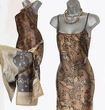 Karen Millen Khaki Brown Soft Satin Strappy Embellished Midi Dress UK10 EU38
