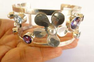 Garnet Blue Topaz Amethyst Mabe Pearl Flower 925 Sterling Silver Bangle Bracelet