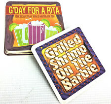 G'Day For A Rita Grilled Shrimp on the Barbie Square Cardboard Coasters 10 PC.