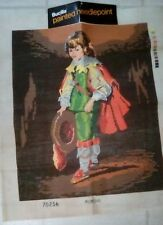 "PAINTED NEEDLE POINT CANVAS, BUCILLA, BOY WITH CAPE AND HAT, 28"" X 23"""
