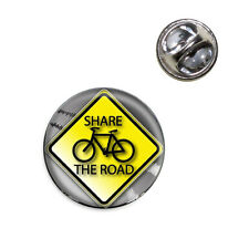 Share The Road Bicycle Stylized Yellow Grey Sign Lapel Hat Tie Pin Tack