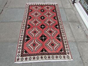 Vintage Hand Made Traditional Oriental Wool Faded Pink Large Rug 184x104cm