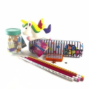 Unicorn girls Stocking Stuffer Gift LOT! Pencils, Tin, Erasers squishy