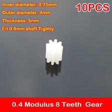 10PCS 0.4 Modulus 2MM 8 Teeth Plastic Spindle Coreless Motor Gear T=8 DIY Model