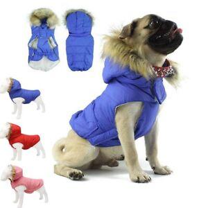 Warm Dog Coat Clothes Hat Cotton Padded Vest Pet Jacket Medium/ Large Winter