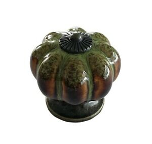 Antique Green Ceramic Door Knobs Vintage Pumpkin Style Cabinet Drawer pulls