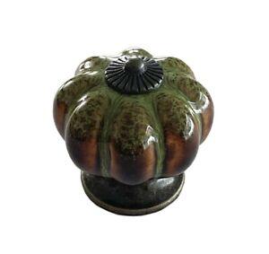 Antique Green Ceramic Door Knobs Vintage Pumpkin Style Cabinet Drawer pulls