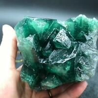 553g natural bright green octahedral fluorite mineral specimen/China HealingE24