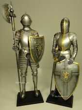 "13"" ** PAIR of MEDIEVAL TIMES CRUSADES KNIGHT SCULPTURE STATUE W POLEAXE & SWORD"
