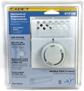 CADET BTF2W Electric THERMOSTAT 2 Pole 08734 DOUBLE POLE 120v 208v 240v White