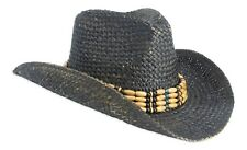 Vintage Style Unisex Cowboy Hat - Black Straw With Beaded Trim & Shapeable Brim