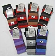 Knee High Socks Black with Assorted Colour Stripes 4-7 H10