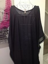 ELEGANT BLACK CHIFFON CAFTAN KAFTAN TOP ONE SIZE RESORT CASUAL LOOSE
