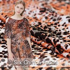 100% Seide Chiffon Stoff Mit Tierfellmuster Leopard Muster Seidenstoff Meterware