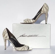 BRIAN ATWOOD Ivory Cream Brown Snakeskin Leather Open Toe d'Orsay Pumps Heels 40