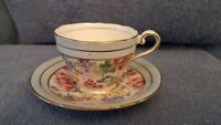Aynsley English Bone China Cup & Saucer, Floral Chintz, Light Blue w/Gold Band