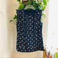 Anthropologie Anna Sui floral ruffled top navy blue size 0 womens XS blouse