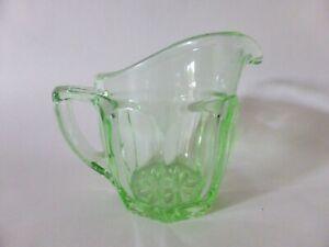 Uranium Glass Creamer, Green Depression Glass, Vintage Milk Jug, Art Deco