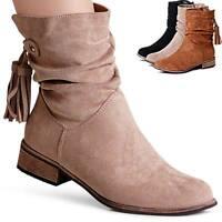Damen Velours Stiefeletten Ankle Boots Booties Kurz Stiefel Fransen