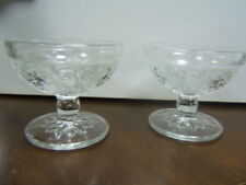 """Hocking Glass Co 2 footed sherbet glasses clear 3 5/8"""""""