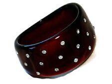 Chunky Bangle Bracelet Burgundy Lucite Clear Crystals