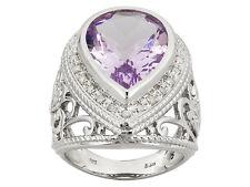 8.63 ctw Pink Amethyst .18 ctw Diamond Silver Ring Sz 7