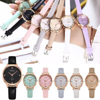 Fashion Women Quartz Ladies Stainless Steel Case Leather Thin Band Watches fz