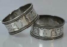 Victorian Solid Silver Pair of Napkin Rings of Floral Design