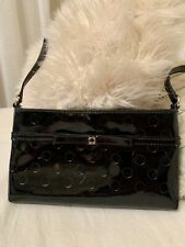 Kate Spade Black Patent Leather Small Shoulder Purse Classic Zipper Party Bag