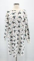 Vtg MICKEY MOUSE Womens White Thermal Waffle Knit Ski Nightgown Shirt One Size