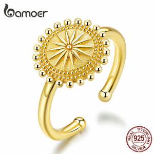 BAMOER Starry Finger Golden Ring S925 Sterling silver For Women Gift Jewelry