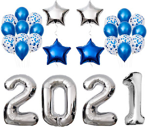 Graduation Party Supplies 2021 Decorations Kit, Silver Balloons, Blue And Set