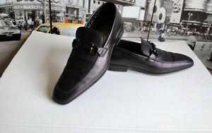 SALVATORE FERRAGAMO Men Black Leather Gancini Bit Penny Loafer Dress Shoe 9.5 D