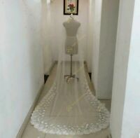 UK 1 Tier 3 Meters Wedding Veil Cathedral Bridal Veil With Comb Lace Flowers