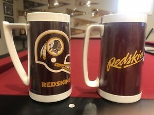 "2 VINTAGE WASHINGTON REDSKINS THERMO-SERV 6"" TALL MUG NFL FOOTBALL"