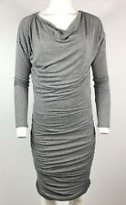 ATHLETA Dress Gray Tulip Long Sleeve Cowl Neck Ruched Sides Wool Size Small #W6