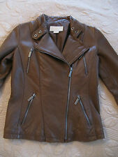 NEW NWOT MICHAEL KORS M BUTTERY SOFT LEATHER MOTO MOTORCYCLE JACKET BROWN COAT