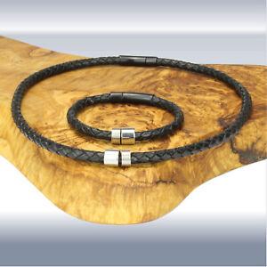 Leder-Hals/-Armband mit Beads und Verschluss aus Edelstahl - Matt-Schwarz