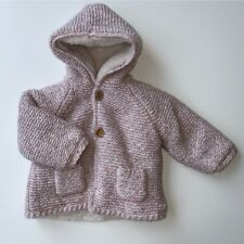 Zara Baby Girls 6-9 Months Pink Knit Fur Lined Cardigan Hooded