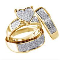 3Pcs/Set NEW Jewelry Yellow Gold Filled Heart White Sapphire Wedding Ring Sz5-11